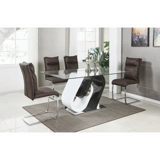 Best Quality Furniture Modern White and Cappuccino 5-piece Dining Set