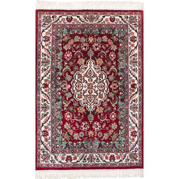 eCarpetGallery Hand-Knotted 300L Silk Red Art Silk Rug (4'0 x 6'0)