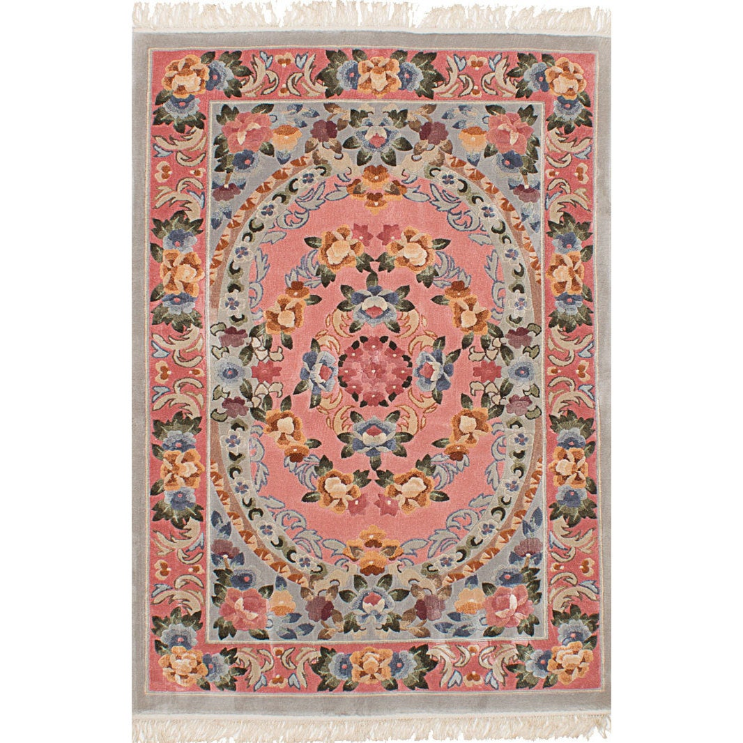 Harrir Grey Pink Art Silk Rug