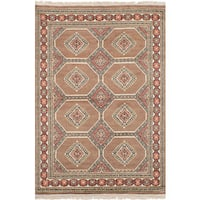 eCarpetGallery Hand-Knotted  Peshawar Bokhara Brown  Wool Rug (4'1 x 6'3)