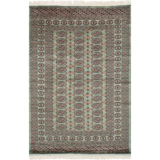 eCarpetGallery Hand-Knotted Finest Peshawar Bokhara Green  Wool Rug (4'3 x 6'8)