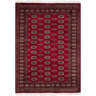 eCarpetGallery Hand-Knotted Finest Peshawar Bokhara Red Wool Rug (4'2 x 5'11)