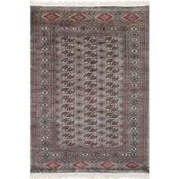 eCarpetGallery Hand-Knotted Finest Peshawar Bokhara Grey  Wool Rug (4'3 x 6'1)