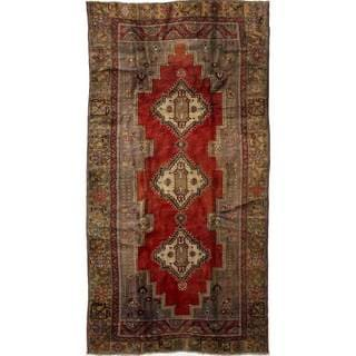 eCarpetGallery Hand-Knotted Anatolian Vintage Red Wool Rug (5'1 x 10'2)