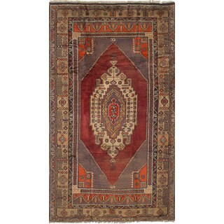 eCarpetGallery Hand-Knotted Anatolian Vintage Red Wool Rug (4'10 x 8'8)