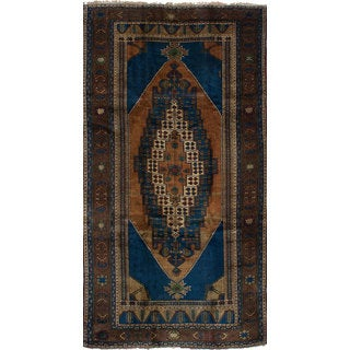 eCarpetGallery Hand-Knotted Anatolian Vintage Blue, Brown Wool Rug (5'3 x 10'3)