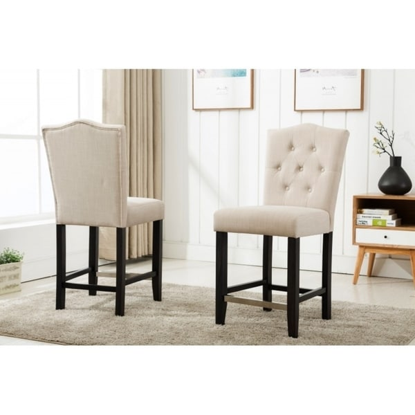 Best Quality Furniture Beige Upholstered Button Tufted Counter Height Chair (Set of 2)