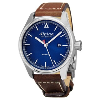 Alpina Men's AL-525N4S6 'Startimer Pilot' Blue Dial Brown Leather Strap Swiss Automatic Watch