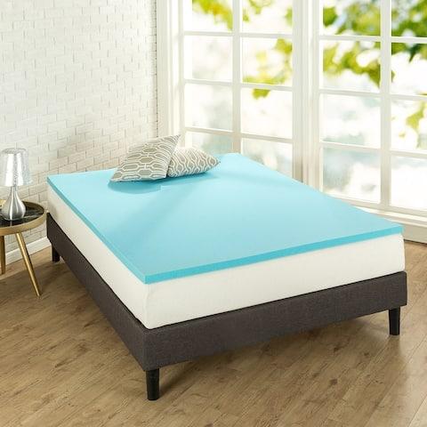 Priage by ZINUS 1.5 Inch Green Tea Cooling Gel Memory Foam Mattress Topper - Blue