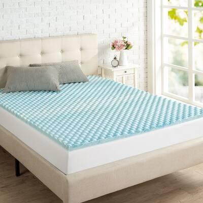Priage by ZINUS 1.5 Inch Swirl Gel Cooling Memory Foam Mattress Topper - Blue