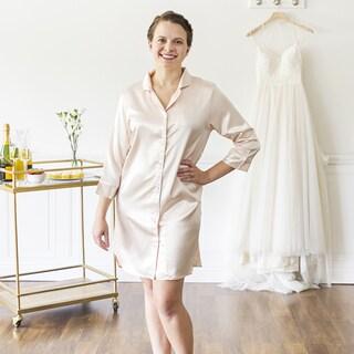 Personalized Blush Satin Night Shirt, (Large-Extra Large) (More options available)
