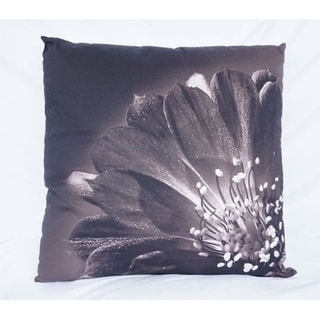 Blooming Flower - Black - Cotton Throw Pillow