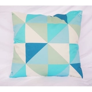 Geometric Triangles - Blue - Cotton Throw Pillow