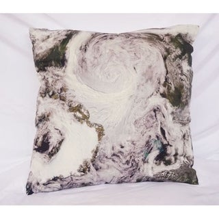 View From Space - Dark Green - Cotton Throw Pillow
