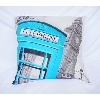 Telephone Box - Aqua - Cotton Throw Pillow