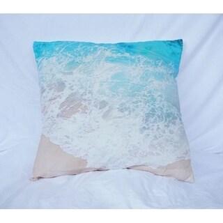 Beach Shores - Aqua - Cotton Throw Pillow