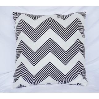 Chevron Stripes - Black - Cotton Throw Pillow