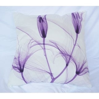 Dancing Petals - Daybreak Purple - Cotton Throw Pillow