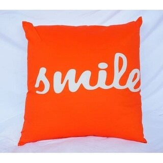 Big Smile - Vermillion Orange - Cotton Throw Pillow