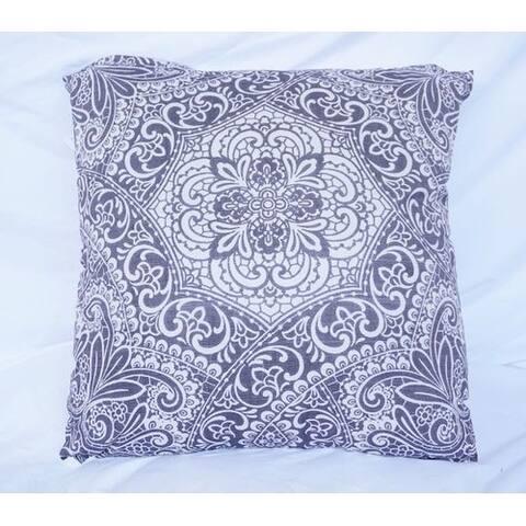 Garden Party - Pewter - Cotton Throw Pillow