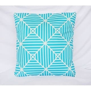 Clashing Stripes - Bleached Aqua - Cotton Throw Pillow