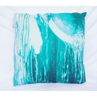 Drip Paint - Ocean Depths Teal - Cotton Throw Pillow