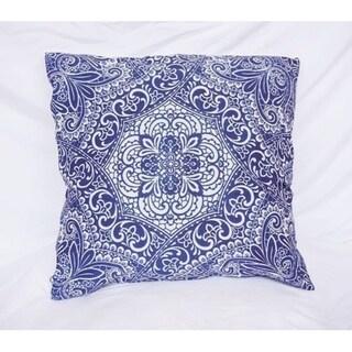 Garden Party - Blue - Cotton Throw Pillow