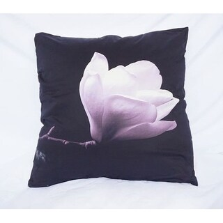 Blossom and Stem - Black - Cotton Throw Pillow