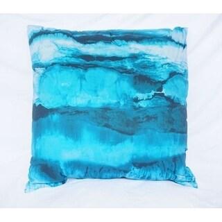 Ocean Layers - Ocean Depths Teal - Cotton Throw Pillow
