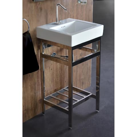 New South Beach 18 Stainless Steel Open Console with Sink Set