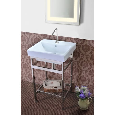 New South Beach 20 Stainless Steel Open Console with Sink Set
