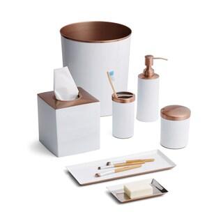 Tuxedo White/Rose Gold 7-Piece Bath Set