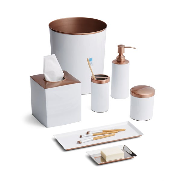Tuxedo White Rose Gold 7 Piece Bath Set