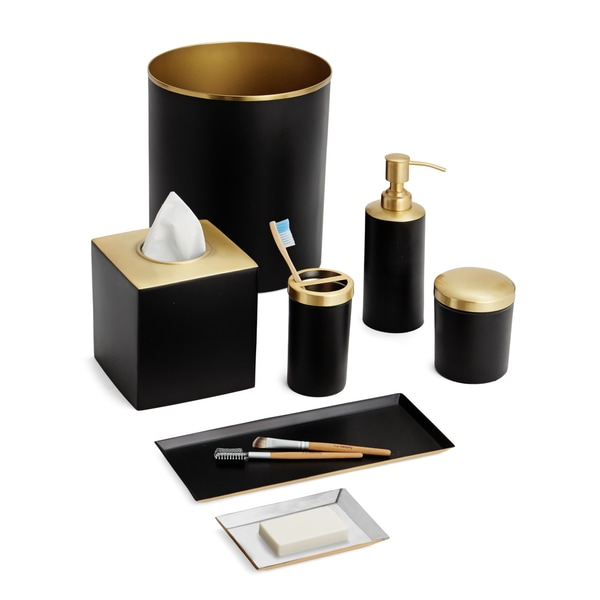 gold and white bathroom accessories. Tuxedo 7 Piece Bath Set  Black Gold Free Shipping Today