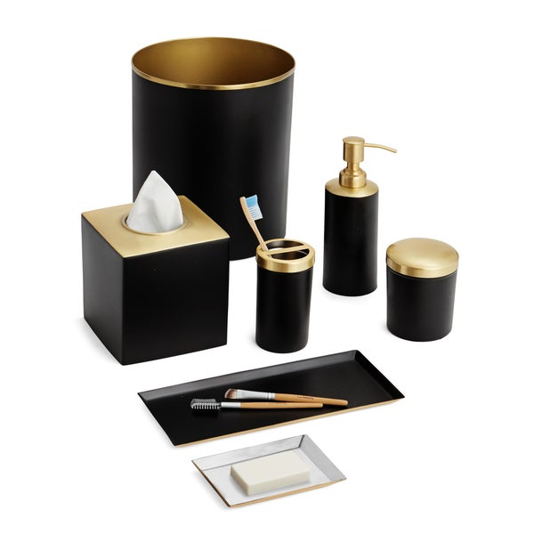 Tuxedo 7 Piece Bath Set Black Gold
