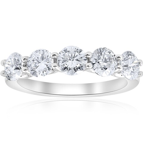 Bliss 14k White Gold 2ct TDW Five Stone U Prong Wedding Ring (I-J,I2-I3) - White I-J