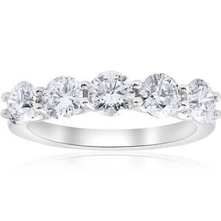 Bliss 14k White Gold 2ct TDW Five Stone U Prong Wedding Ring (I-J,I2-I3) - White I-J|https://ak1.ostkcdn.com/images/products/17977366/P24152157.jpg?impolicy=medium