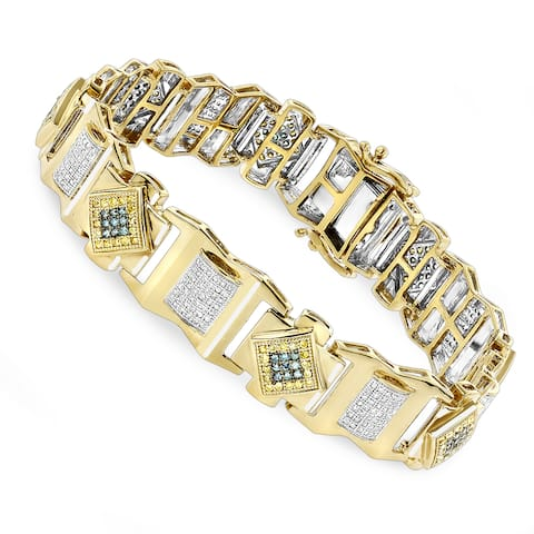 Luxurman 10K Solid Gold Mens Diamond Bracelet Yellow Blue White 2.5 ct