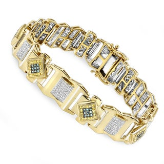 Luxurman 10K Solid Gold Mens Diamond Bracelet Yellow Blue White 2.5 ct