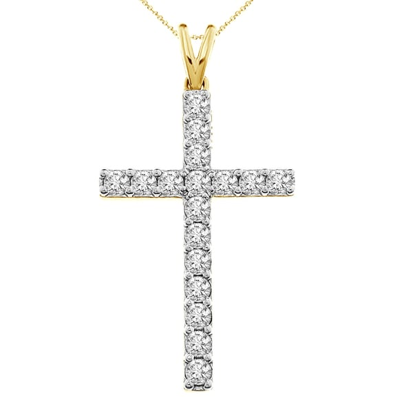 10KT 1.00ct tdw yellow gold or white gold classic cross necklace