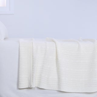 Berkshire Blanket Cream Cable Knit Throw