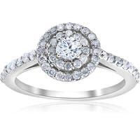 Bliss 14K White Gold 3/4cttw Double Halo Round Diamond Engagement Ring - White G-H