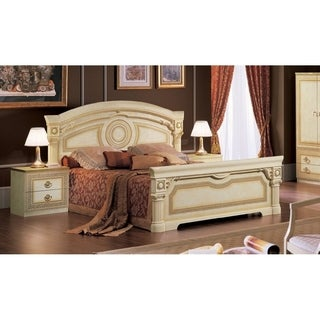 Luca Home Athena Ivory Wood/Veneer Bed