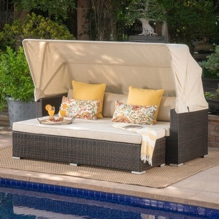 Glaros Outdoor Aluminum Wicker Sofa with Water Resistant Canopy and Cushions by Christopher Knight Home