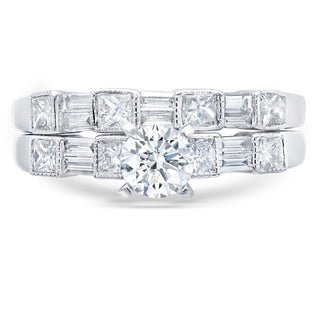 LeZari & Co. 1.55ct TDW Round, Princess & Baguette cut diamonds in a beautifully handmade wedding set in fine 14k white gold.