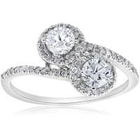 14K White Gold 1cttw Two Stone Diamond Engagement Ring (H/I, I1-I2) - White H-I