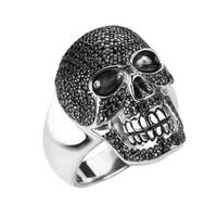 Sterling Silver Glittering Skull Ring with Black Zircon for Father's Day