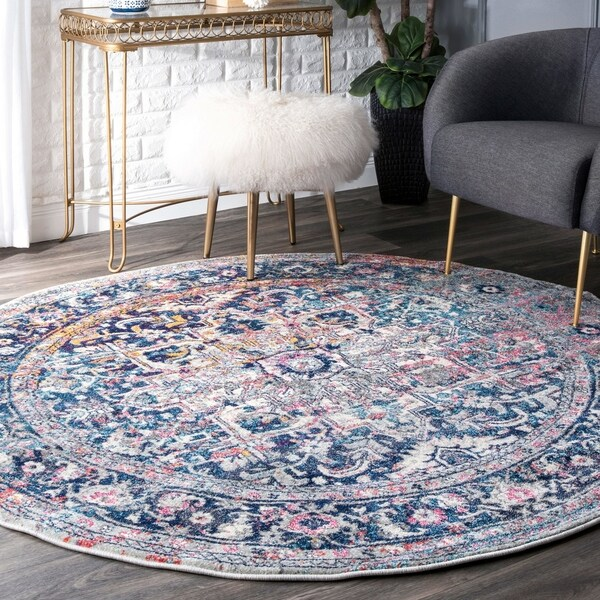 nuLoom Floral Blue Distressed Vintage Faded Round Rug (6' Round) - 6' Round