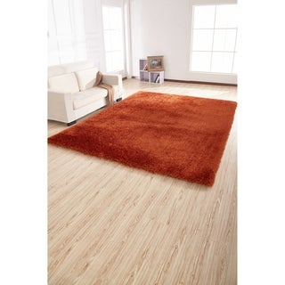2-Inch Thickness Pile Hand Tufted Solid Orange Shag Area Rug - 5' x 7'