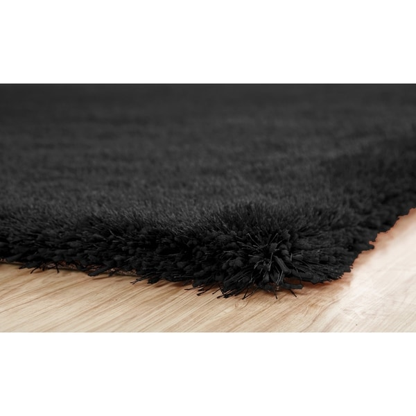 Shop 2 Inch Thickness Pile Hand Tufted Solid Black Shag